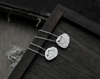 Victorian Floral Vine silver slate pendant necklace