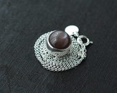 Rolling Ball-like Chocolate coloured Moonstone Silver necklace