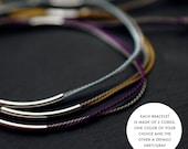 Silver Tubular Silk cord bracelet