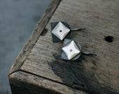 Star Studded Oxidised Mother of Pearl Tulip earrings