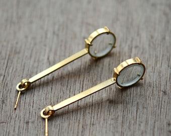 Golden Opto Silver earrings