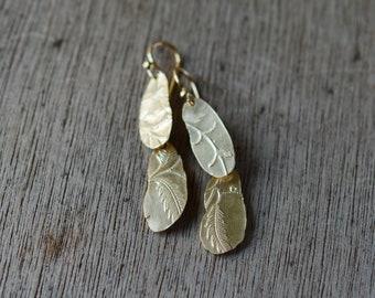 Long Golden Keepsake Fern earrings