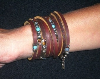Womens Leather Cuff Bracelet | Gypsy Eye, sterling silver, leather, Turquoise and Tiger Eye beauty