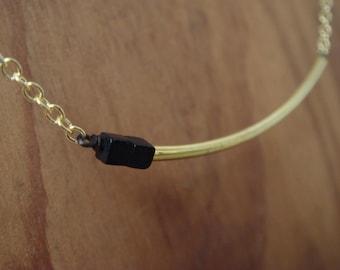 Asymmetrical Gold Arc Necklace