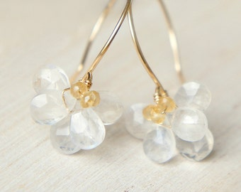 Moonstone Flower Dangle Earrings, Wedding Earrings, June Birthstone Jewelry, Gift for her