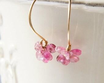 Pink Tourmaline Dangle Earrings, Pink Flower Earrings, Semi Precious Stone Jewelry, Small Earrings
