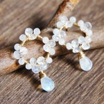White Moonstone Drop Small Earrings, Bridesmaid Jewelry, Gift for her