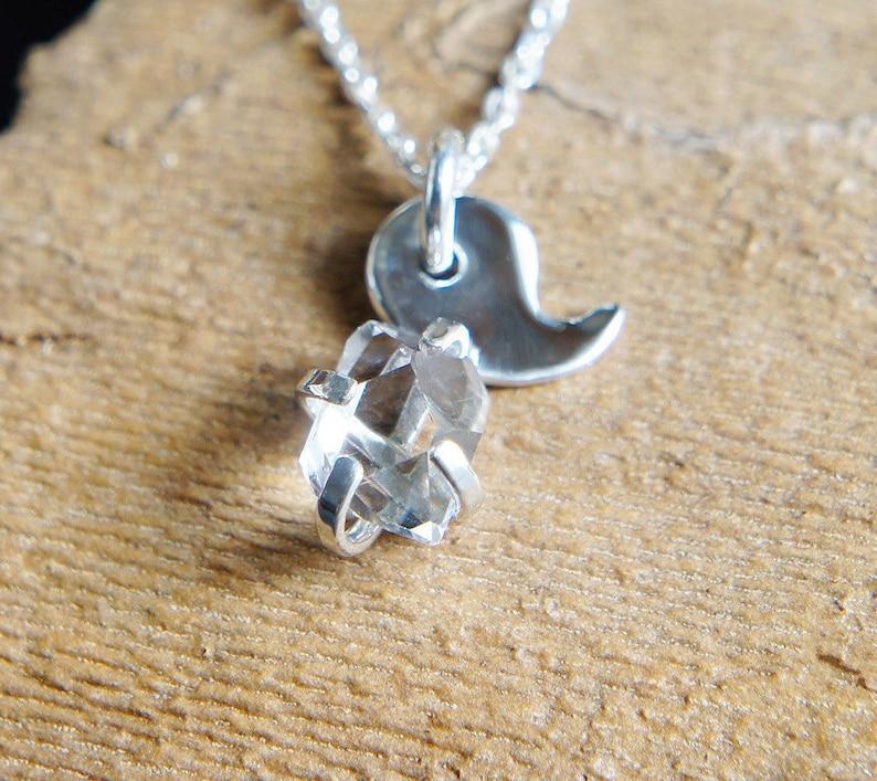 Amulet Jewelry Lucky Charm Necklace Herkimer Diamond Magatama Silver Necklace Healing Quartz Pendant