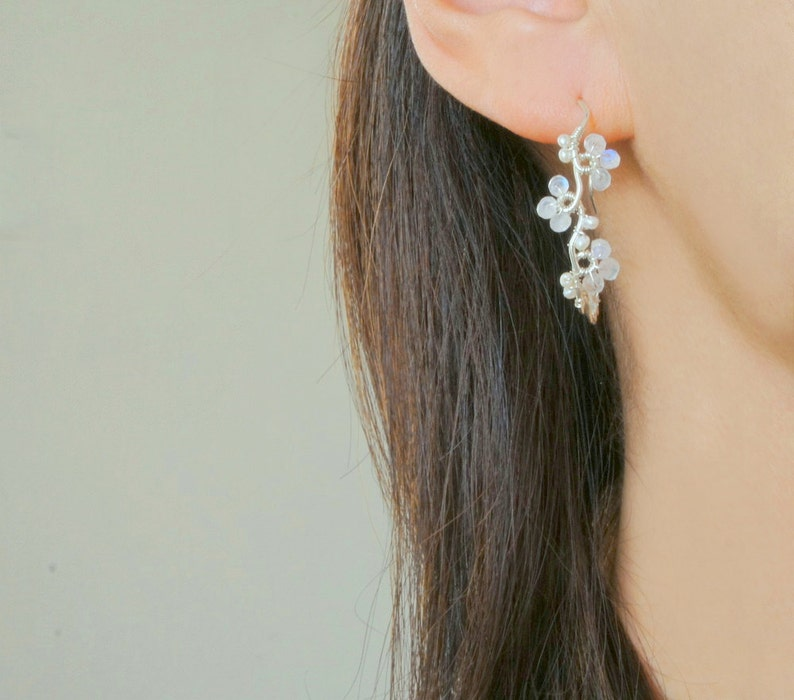 Casual Boho Wedding Sterling Silver Vine Jewelry June Birthstone Moonstone Flower Bridal Earrings