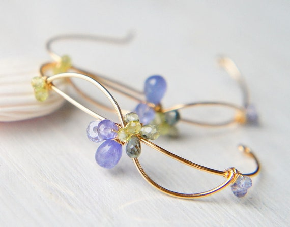 Tanzanite and Sapphire Earrings, Blue and Green Gemstone Earrings, Wavy Earrings, Nature Inspired Japanese Jewelry
