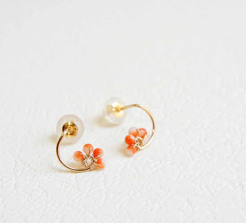 Tiny Solid Gold Earrings. Japanese Orange Coral 14k Gold Studs No Dyed Natural Coral Earrings