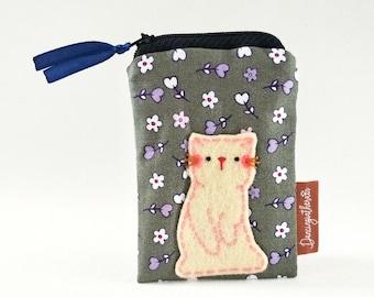 Cat Card Case, Card Purse, Card Pouch, Card Case, ID Case, Cute Card Case, Name Card Case, Zipper Card Case, Cat Card Pouch, Pink