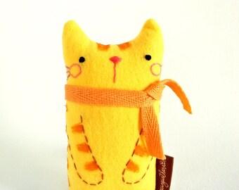Small Orange Cat Art Doll, Cat Doll, Plush Cat, Cat Miniature, Stuffed Cat, Cat Decor, Cat Lover Gifts, Standing Cat, Handmade Tabby Cat