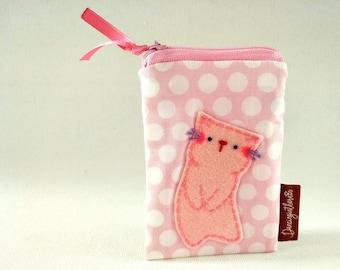 Cat Card Case Wallet, Cat Card Case, Women Card Case, Card Wallet, Pink ID Case, Cute Card Case, Business Card Case, Pink Credit Card Case