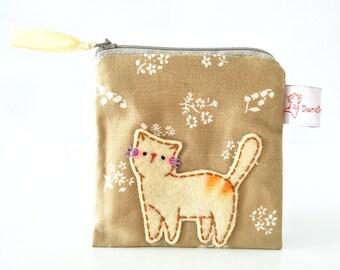Cat Coin Purse, Coin Purse, Small Zipper Pouch, Card Organizer, Change Pouch, Zipper Wallet, Kawaii Pouch, Cat Pouch, Cat Change Purse