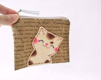 Smiling Cat, Cat coin Purse, Cat Purse, Cat Pouch, Zipper Pouch, Cute Coin Purse, Daughter Gift, Cat Gift, Small Change Purse, Kids Purse