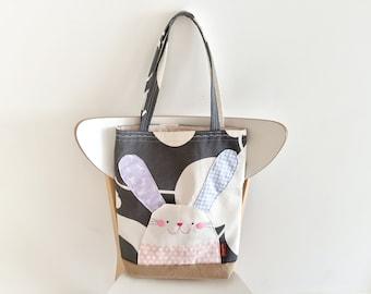 Bunny Rabbit Tote bag, Bunny Tote bag, Cute Rabbit bag, Tote bag, Rabbit bag, Children Bag, Handmade Bag, Kids Tote Bag, Stocking Stuffer