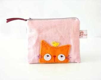 cat purse, orange cat pouch, cat zipper pouch, cat coin purse, cat wallet, coin purse, cute purse, change purse, small pouch, cute pouch