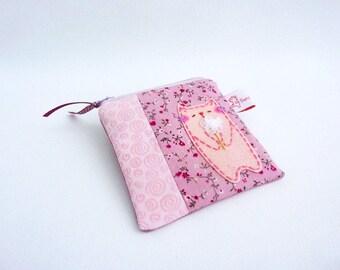 Cat coin purse, coin purse, pink coin purse, small change purse, cute cat purse, cat lover gift, pink zipper pouch