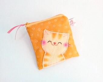 cat coin purse, orange zipper pouch, cute pouch, cute coin purse, cat purse, cat coin wallet, small change purse, smiling cat, pouch, purse
