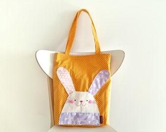 Bunny Rabbit Tote bag, Bunny Tote bag, Cute bag, Cute Tote bag, Rabbit bag, Children Bag, Handmade Bag, Kids Book Bag, Stocking Stuffer