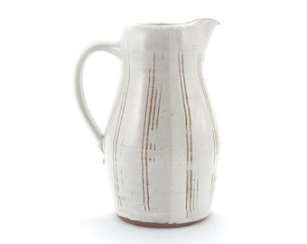 Pitcher (white with incised vertical lines), rustic modern stoneware pottery