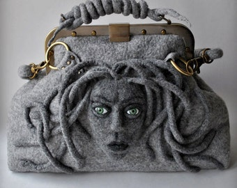 Medusa Womens Satchel/Doctor Felt Carpet Bag/Grey Shoulder Felt Bag/Wool Felted Tote/Mary Poppin Bag/Medusa Art Handbag/Fantasy Felt Bag