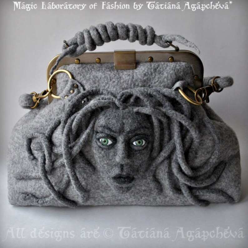 bb130d62c3 Medusa Womens Satchel. Doctor Felt Carpet Bag. Grey Shoulder