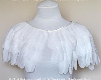 Wedding Chiffon Feather Cape, Bridal Jacket, White Capelet, Wing Bolero, Silk Shrug,Beautiful & Romantic Cover Up,Unique Designer  Accessory