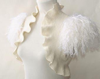 Feather Fur Shrug Ivory Bridal Black Swan Costume Bolero Felt Jacket Marabou Wool Cover Up Wedding Wing Romantic Bridal Clothes