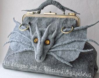 Mother Of Dragons Artistic Felt Handbag SALE/Daenerys Targaryen Game of Thrones Gothic Shoulder Bag/Fantasy Hipster Felted Wool Bag