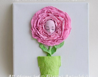 3D Wall Art Peony Flower for Princess Nursery, Textured Painting Sleeping Baby SWEET DREAMS, 3D Abstract Canvas Decoration Princess Room