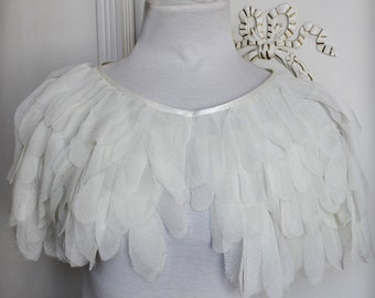 Bridal Cape Ivory Capelet, Ivory Wedding Cape, Feather Bridal Capelet, Chiffon Bolero, Bridal Feather Cape Chiffon Cover Up Silk Cape Bridal