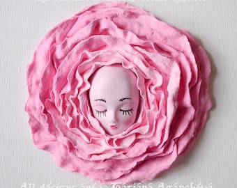 """3D Wall Art Shabby Chic Roses Painting, Textured Composition """"Sweet Dreams"""", 3D Canvas Decoration Princess Room, Abstract   Sculpture Flower"""