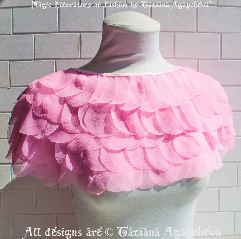 Silk Shrug Wedding  Bridal Cape Pink Chiffon Rose Petals Bridal Cover Up Rose/'s Silk Petals Unique Designer Accessory Pink Capelet