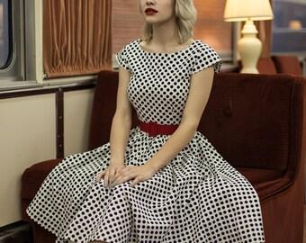 retro dress - custom made clothing - black and white polka dots - bridesmaids dress - vintage reproduction dress - 1950s retro dress