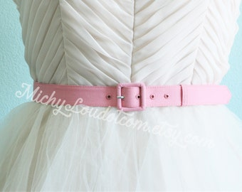 1 inch wide custom made belt with matching fabric covered buckle in many colors, handmade belt, custom made belt, pink belt, 1 inch wide