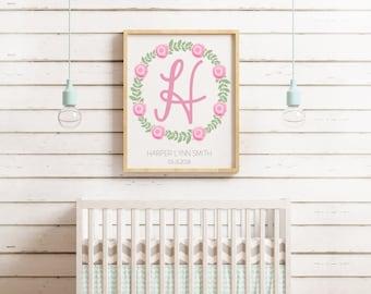 Baby Announcement Wall Art - Custom Baby Wall Art - Birth Announcement - Baby Wall Art - Flower Wall Art