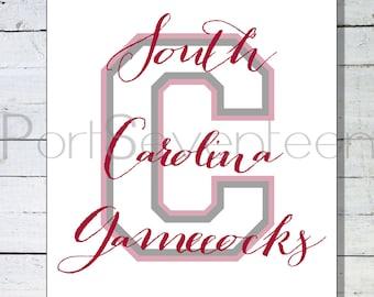 University of South Carolina Gamecocks Custom Wall Art - Gamecocks Wall Art - Custom College Sports Wall Art