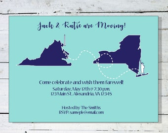 Going Away Party Invitation, Custom Invite, Moving Announcements, DIY Printable, Custom Design, State Cut Outs