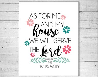 As For Me and My House Sign - Serve the Lord Sign - House Sign - Joshua 24:15 - Biblical Wall Art - Housewarming - Digital Art