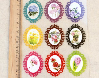 Offset Printing Iron On Transfer - French Style Vintage Victorian Classic Rose Floral Flower Frame Collection (1 Sheet)