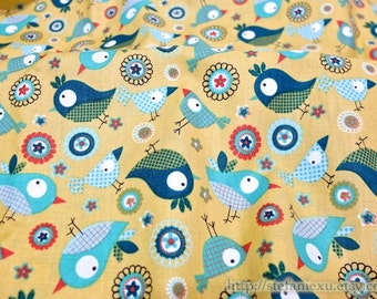 SALE CLEARANCE Birds Collection, Lovely Curious Baby Birds On Yellow - Cotton Fabric (1 Yard)