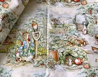 Fairy Tale Storybook, Shabby Green Rose Floral Peter Rabbit Bunny Garden-Cotton Fabric(1/2 Yard, 17.7x55 Inches)