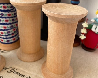 Wooden Spool Bobbin Lace/Ribbon Organizer - 1PCS Of 3.5 Inches(9CM)Tall Natural Feeling Retro Wooden Bobbins Spool(1PCS, Lace NOT Included)