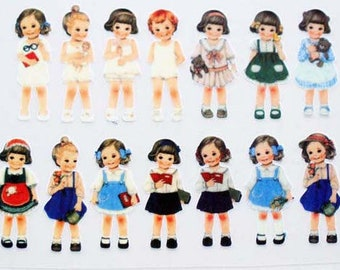 Offset Printing Iron On Transfer - Retro Paper Dolls Girls Collection, Small (1 Sheet, 14 Dolls)