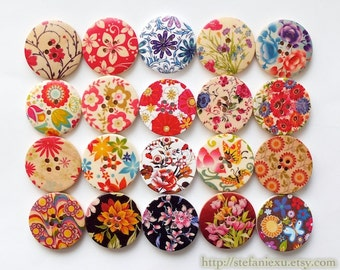 Wooden Buttons, Painted Printed Color - Natural Floral Flower Garden Collection (20 in a set, D3CM)