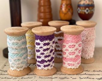 1 Yard Japanese Lace and 1PCS Wooden Spool Bobbin Lace/Ribbon Organizer(Pack Set)-Natural Feeling Retro Wooden Bobbins Spool(Choose Color)