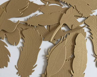 Feather Embellishment Gold feather Paper feathers