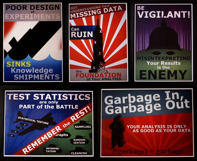 Set of 5 Statistics Propaganda Posters image 0
